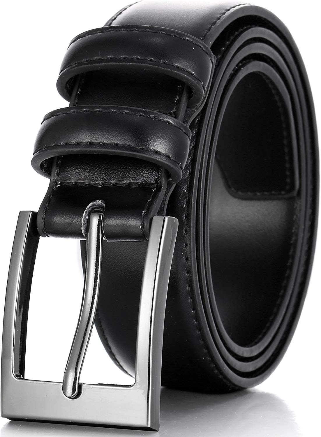Black leather belt with silver buckle from Marino Avenue