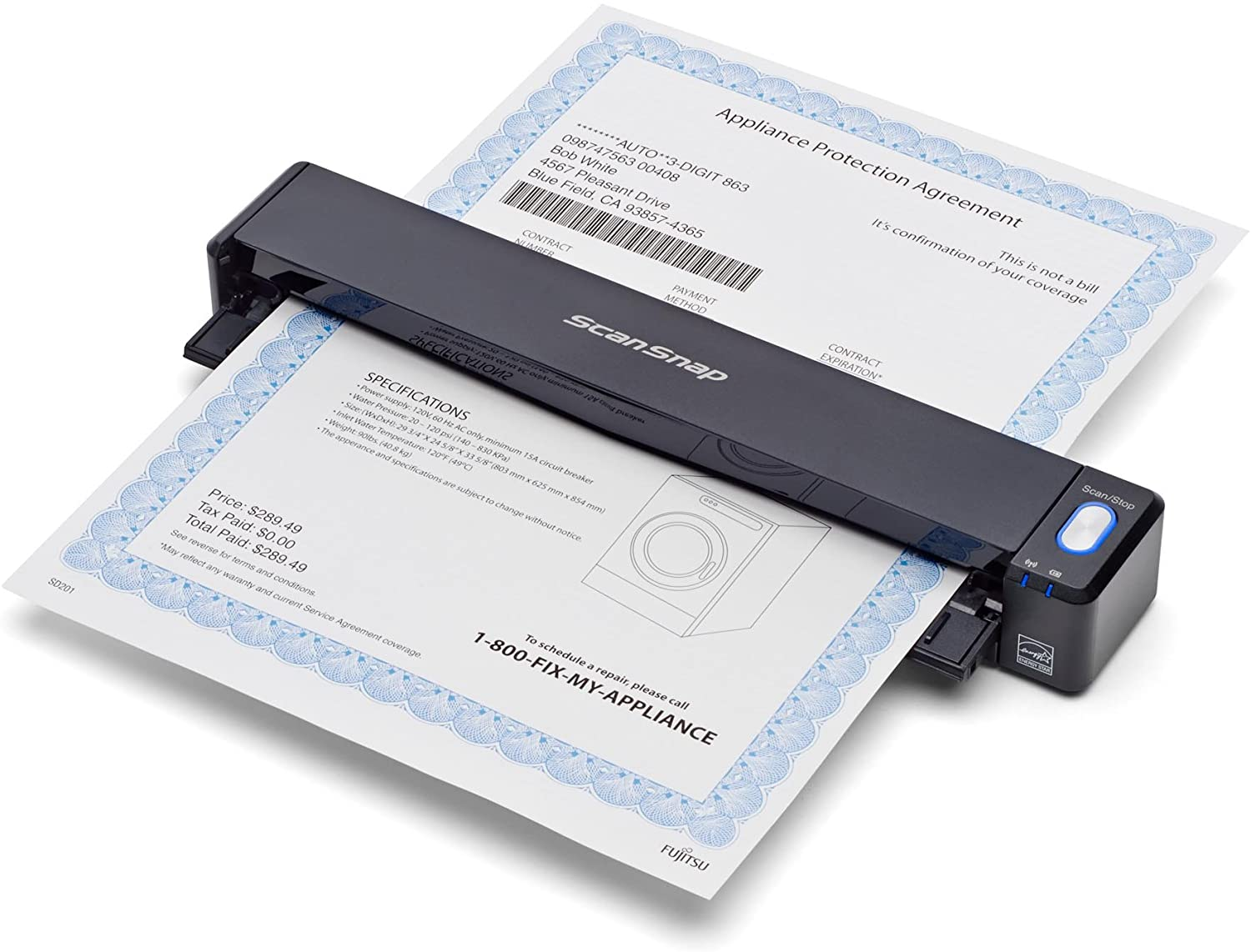 Black wireless mobile scanner from Fujitsu scanning one page of a document