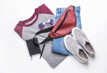 a men's red and gray shirt, denim jeans, gray sneakers and red body bag with a black journal, pen and purple shades, casual fashion, casual outfits, casual clothes, casual wear