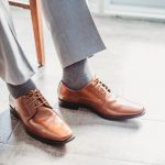 a man's brown leather dress shoes and gray pants, dress shoes for men