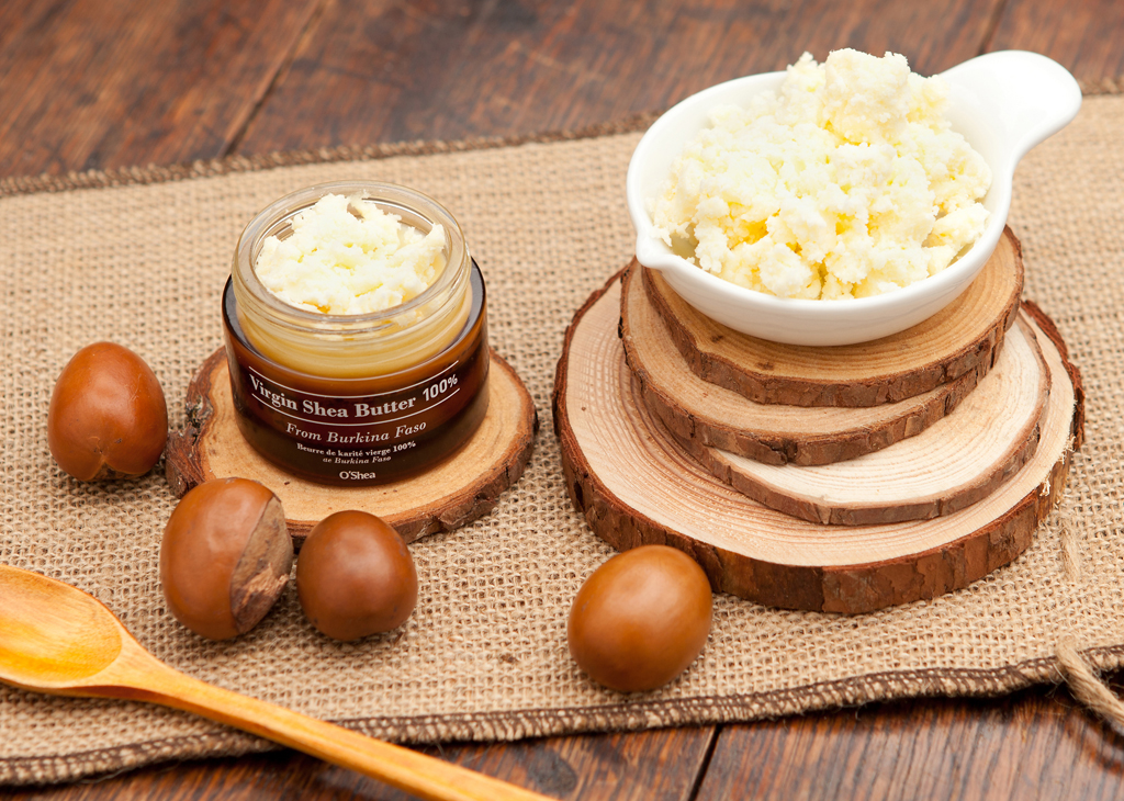 100% virgin shea butter with shea nuts around it, homemade conditioner ingredients