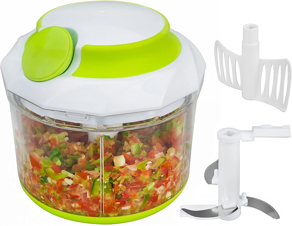 Food chopper with its blade and mixer attachment