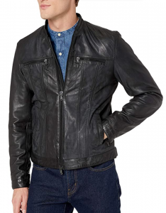 John Varvatos Star USA Men's Band Collar Leather Jacket, Men's Fashion Trend