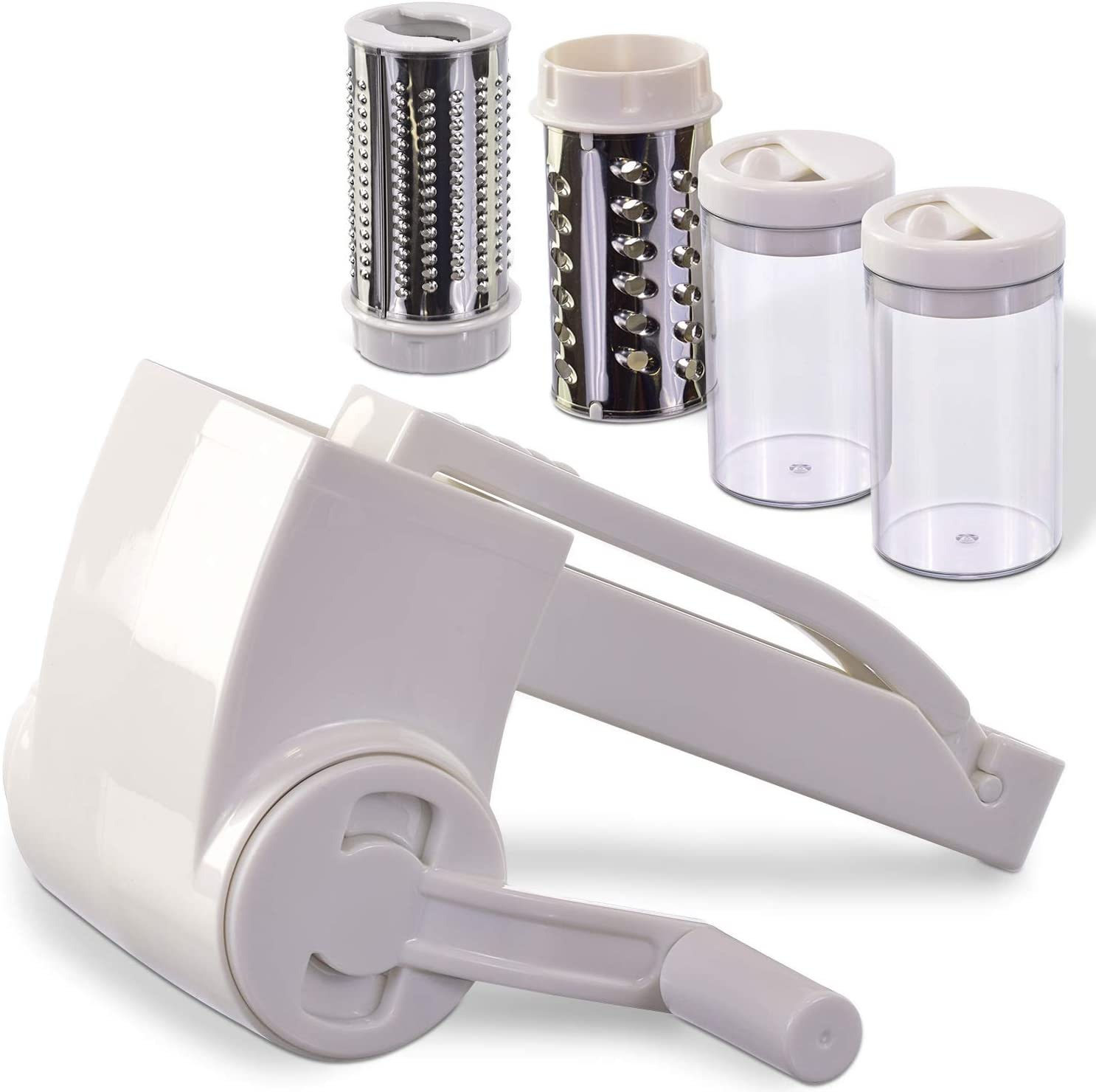 Rotary grater with its 2 spare drums and 2 storage containers