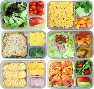 SimpleHouseware 3-Compartment Heavy Duty Bento Lunch Container Boxes