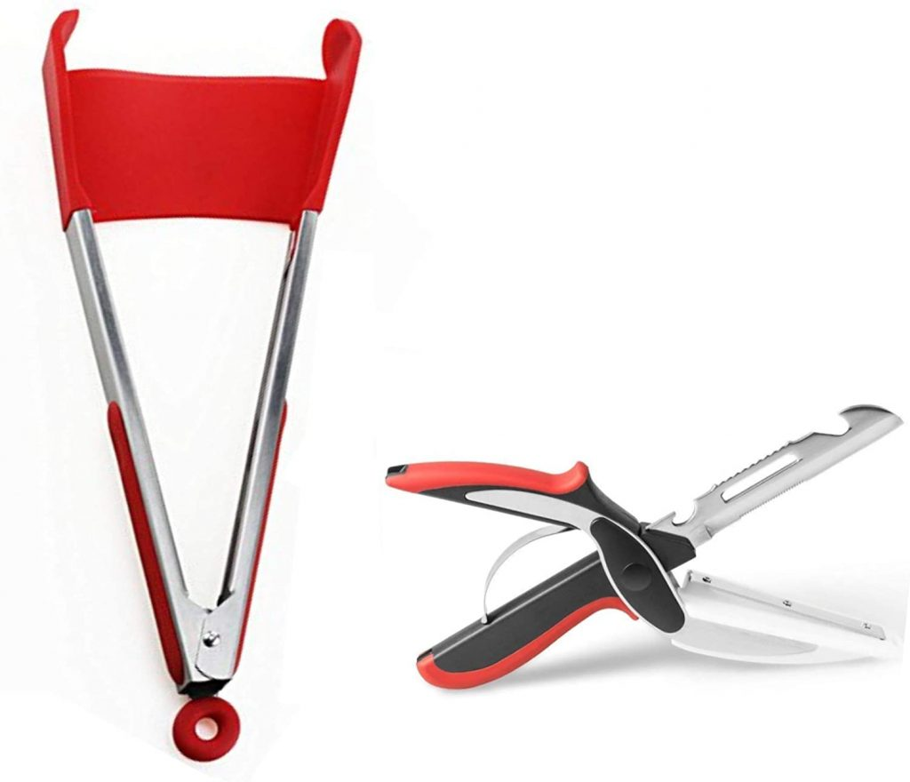 Red spatula tongs with multipurpose kitchen scissors