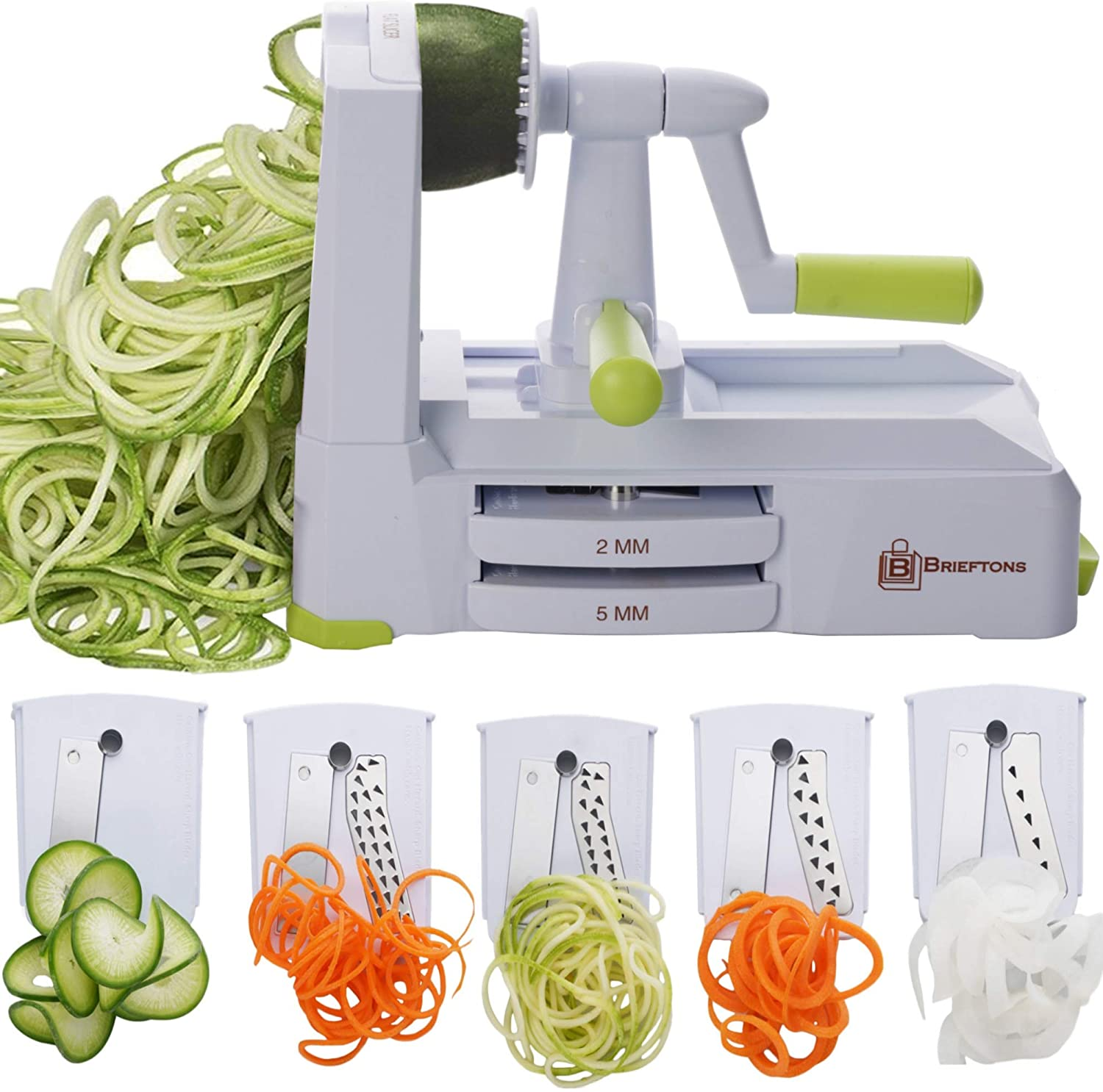 Vegetable spiralizer with its 5 different blade settings