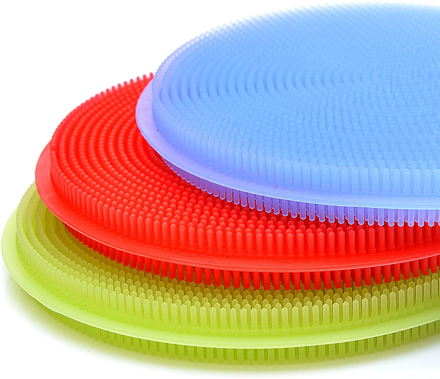 Silicone scrubber in green, blue and red