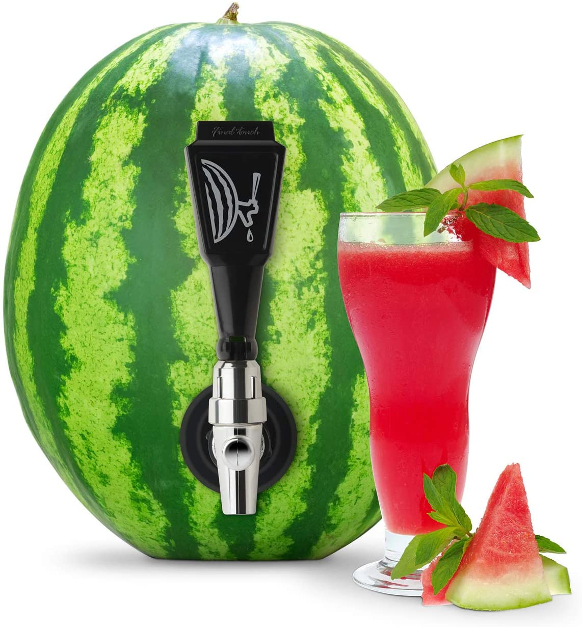 Watermelon with a keg tap in it and a glass of juice