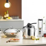 silver modern cookware in a modern kitchen setting