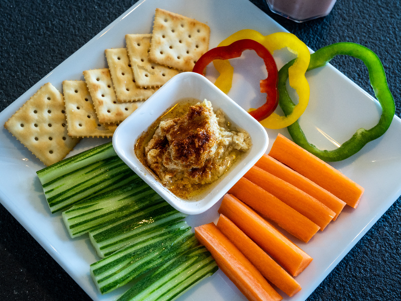Celery With Hummus, Healthy Snack, Low-calorie Snack, Carrots, Crackers, Healthy Eating
