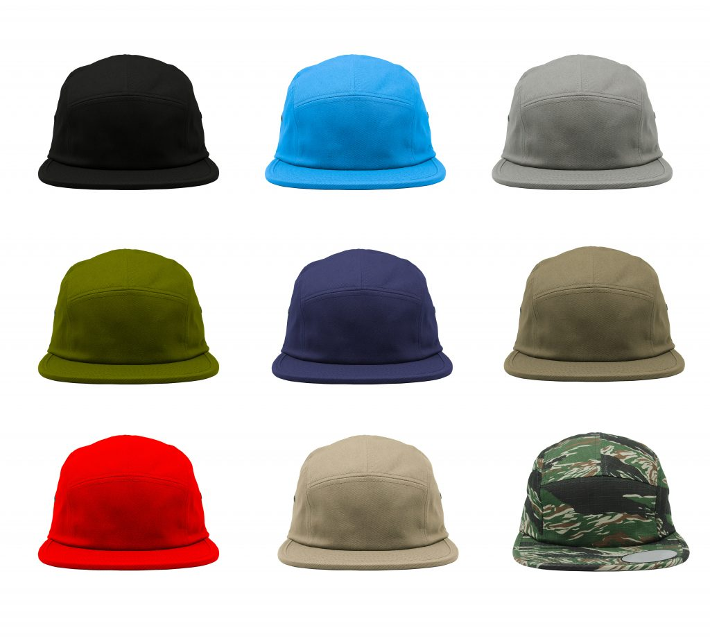a variety of 5 panel caps