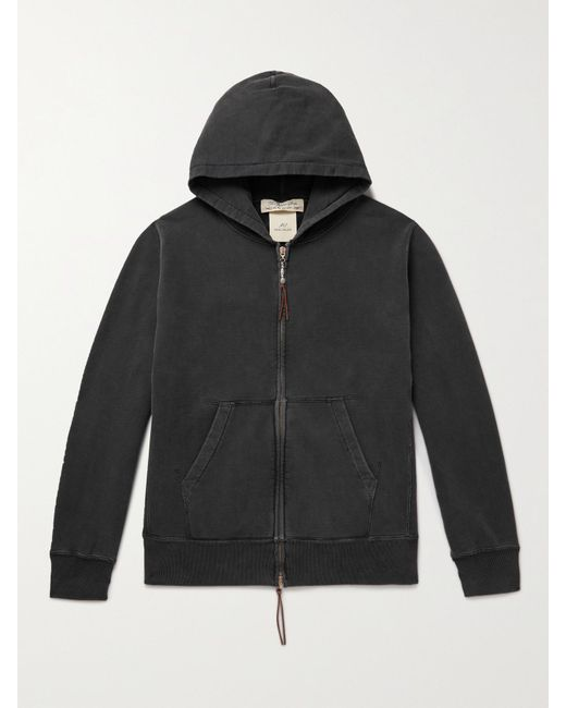 Remi Relief Loopback Leather-Trimmed Zip-Up Hoodie
