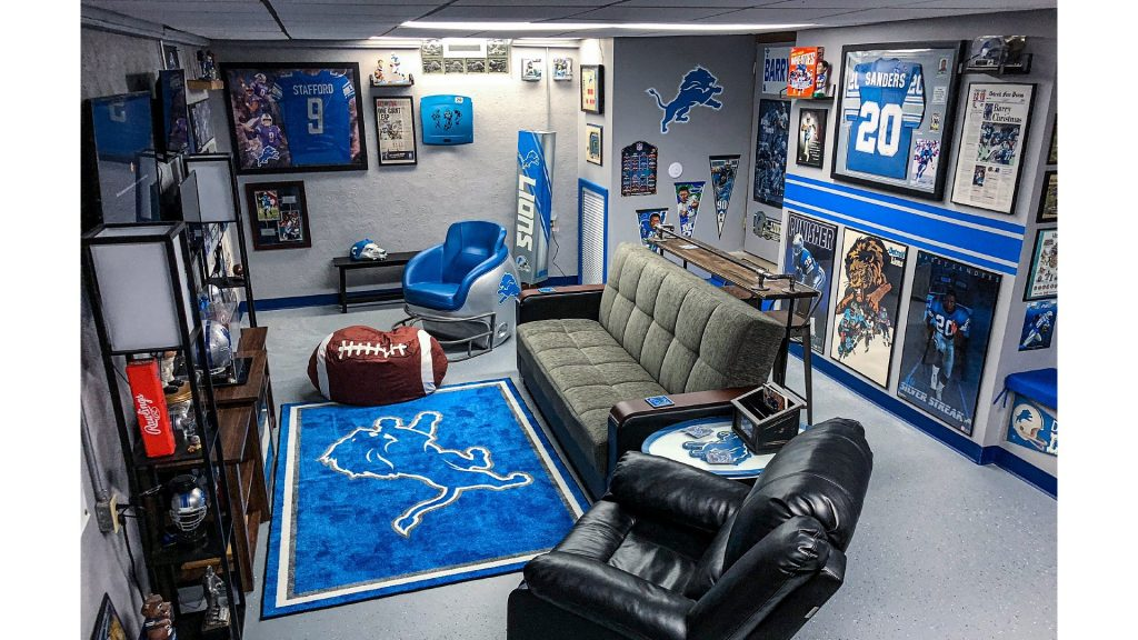 football inspired man cave